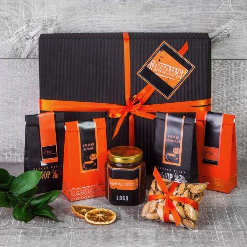 Чайный набор для металлурга в черной упаковке с оранжевой лентой